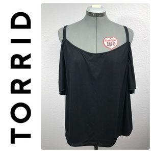TORRID Black Cold Shoulder Tee Sz 4X